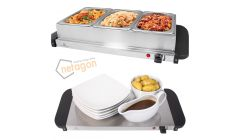 Quest Compact 200W 3L Electric Buffet Server 3 Warming Trays with Lids & Hot Plate Food Warmer