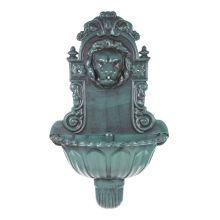 GardenKraft Antique Green Lion Head Water Feature Wall Mounted Bird Bath Fountain