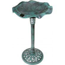 GardenKraft Outdoor Garden Resin Bowl & Stand Bird bath with Solar Light