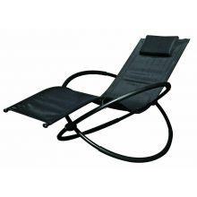 Schallen Garden & Outdoor Breathable Heavy Duty Steel Rocker Rocking Folding Lounger Chair with Pillow - BLACK