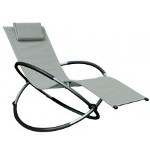 Schallen Garden & Outdoor Breathable Heavy Duty Steel Rocker Rocking Folding Lounger Chair with Pillow - GREY