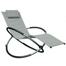 Schallen Garden & Outdoor Breathable Heavy Duty Steel Rocker Rocking Folding Lounger Chair with Pillow - GREY