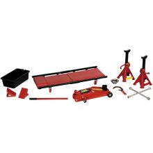 10 Piece 2 Tonne Hydraulic Trolley Jack, Axel Stand and Chock Ultimate Car Lift Kit