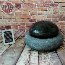 MP Essentials Garden Outdoor Solar Pebble Ball Stone Water Fountain Feature Black and Grey