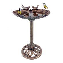 Schallen Plastic Bronze Metal Effect Garden Clam Shell Bird Bath with Stones