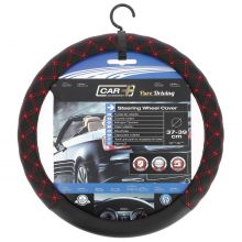 "Sumex Car+ Empire ""Red"" Soft Car Steering Wheel Sleeve Cover - Black With Red Cross Stitch"