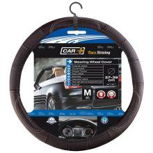 Sumex Car+ Soft Genuine Leather Car Steering Wheel Cover - Black & Silver Thread