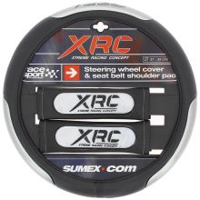 Sumex Xtreme Race Sport Concept Steering Wheel Cover & Seat Belt Shoulder Pads - Black & Silver