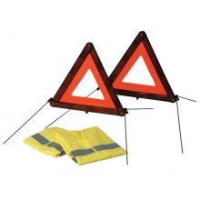 Sumex 2 x Warning Triangle & 2 High Vis Vests Emergency Breakdown Car Travel Kit
