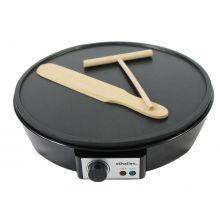 "Schallen Black 1000W 12"" Electric Traditional Pancake & Crepe Maker Machine + Utensils"