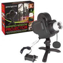 Global Gizmos Indoor Window Projector Light - 18 Live Animations, Christmas Halloween Party