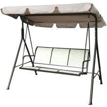 Netagon Outdoor Garden 3 Seater Hammock Textilne Swing Seat Chair with Black Frame & Beige Canopy