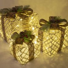 Rustic Antique Set of 3 LED Light Up Presents Under Christmas Tree Gift Box