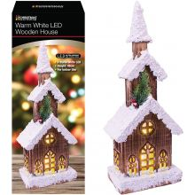 Christmas Battery Warm White LED Snow Topped 3 Tier 46cm Brown Wood Cabin House