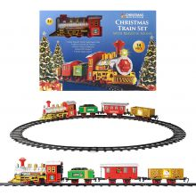 Deluxe Santa's Express Delivery Christmas Train Track Set for Under Tree | Realistic Sounds & Light