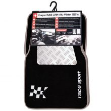 Sumex Velour Carpet Car Floor Mats with Aluminium Heel Pad - Black and Grey
