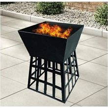Schallen Outdoor Charcoal Wood Burner Square Fire Pit Heater with BBQ