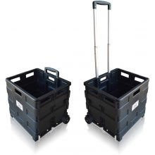Pack and Go Folding Boot Cart Transport Box Shopping Trolley with Wheels, Heavy Duty Capacity 40kg