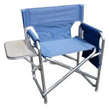 MP Essentials Strong Sturdy Portable Travel Camping Folding Directors Chair with Pockets and Table - BLUE