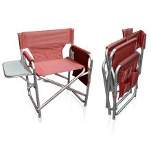 Strong Sturdy Portable Travel Camping Folding Directors Chair with Pockets and Table - BURGUNDY