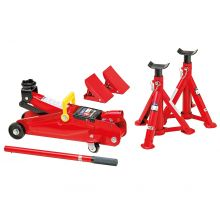 Sumex 2 Tonne Hydraulic Trolley Jack with Axel Stand and Wheel Chock Car Lifting Kit