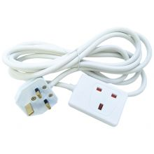 Eagle 2M 1 Gang 13A Extension Lead Cable Electric UK Mains Plug Socket - WHITE