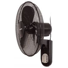 "Schallen 16"" 40cm Oscillating Wall Mounted Air Cool Fan with 3 Speed Settings, Timer & Remote Control - BLACK"