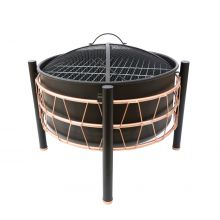 Schallen Garden Outdoor Black Copper Large Bowl Fire Pit with Cooking BBQ Grill