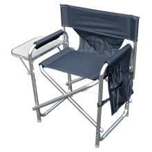 MP Essentials Strong Sturdy Portable Travel Camping Folding Directors Chair with Pockets and Table - GRAPHITE GREY