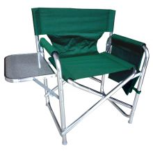 Strong Sturdy Portable Travel Camping Folding Directors Chair with Pockets and Table - GREEN