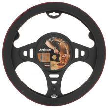 Sumex Italian Hand Made 'ARTISAN' Soft Leather Car Steering Wheel Cover - Black & Red Thread