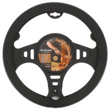 Sumex Italian Hand Made 'ARTISAN' Soft Leather Car Steering Wheel Cover - Black & White Thread