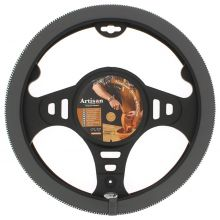 Sumex Italian Hand Made 'ARTISAN' Soft Leather Car Steering Wheel Cover - Dark Grey