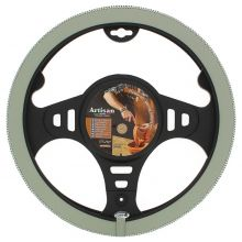 Sumex Italian Hand Made 'ARTISAN' Soft Leather Car Steering Wheel Cover - Light Grey