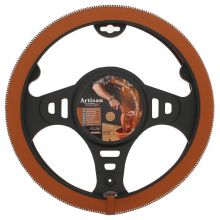 Sumex Italian Hand Made 'ARTISAN' Soft Leather Car Steering Wheel Cover - Tobacco Brown