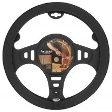 Sumex Italian Hand Made 'ARTISAN' Soft Leather Car Steering Wheel Cover - Black