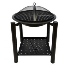 Schallen Garden Outdoor Coal and Wood Burning BBQ Free Standing with Bowl Fire Pit with Lid and Shelf