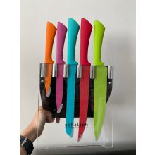 Schallen Kitchen Worktop Modern Colourful 5 Piece Multi Knife Set in Clear Block Stand