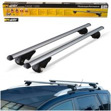 M-Way Universal 120cm Aluminium Car Roof Rack Bars for Raised Rails - Lockable