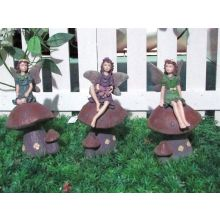 Gardenwize Garden 3 Pack Fairy On Toadstools Outdoor Ornament Decoration